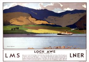Loch Awe, Argyll and Bute. LMS/LNER Vintage Travel Poster by Norman Wilkinson